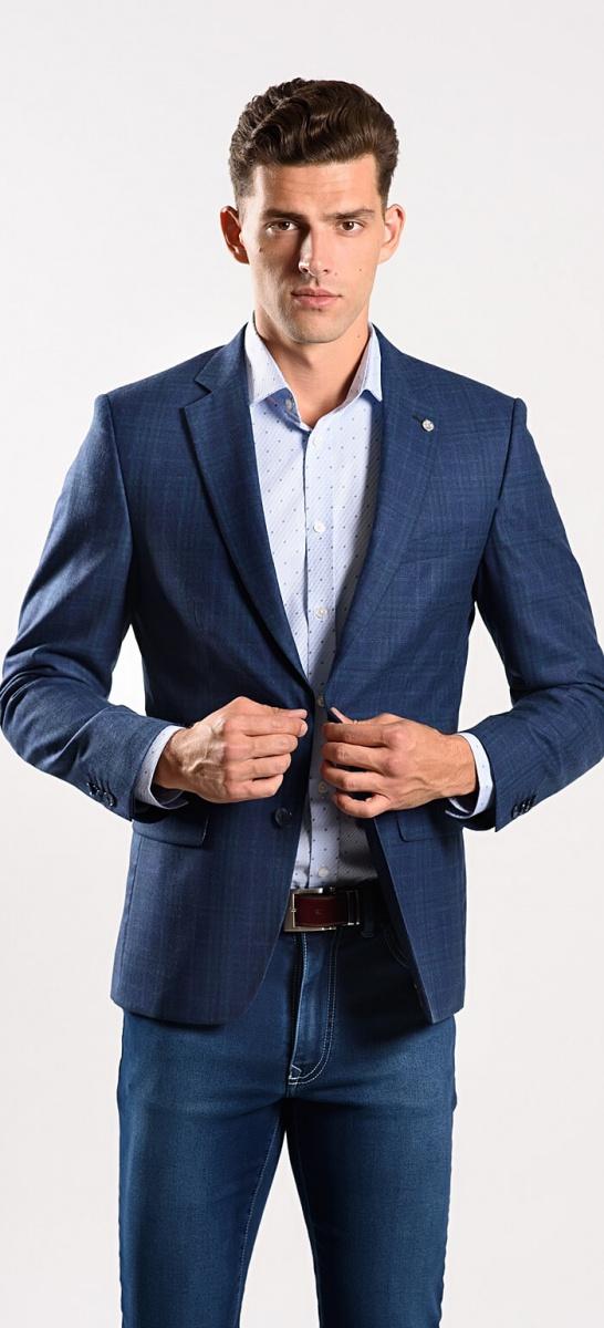 LIMITED EDITION modré vlnené sako