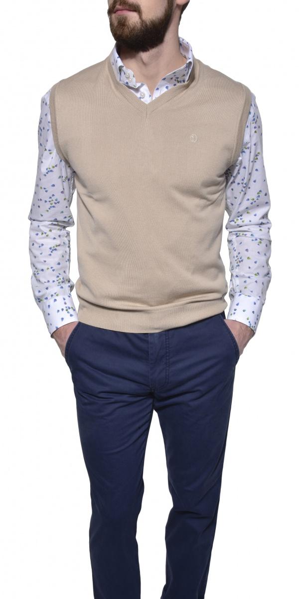 Khaki cotton vest