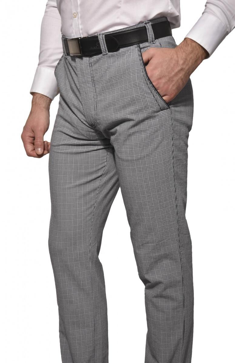 Šedé kárované nohavice