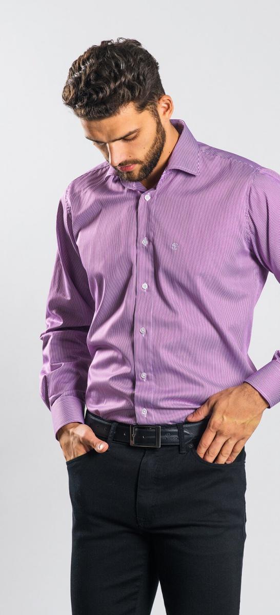 Fialová business Slim Fit košeľa