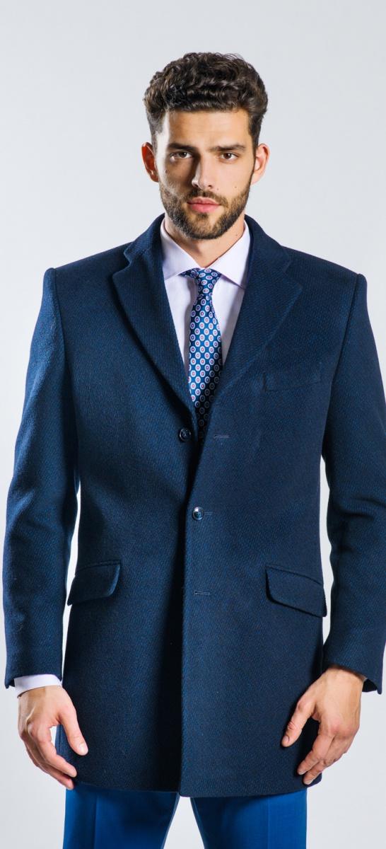 Modrý flaušový kabát