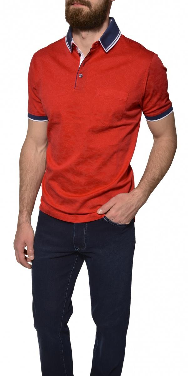 Red piqué polo shirt