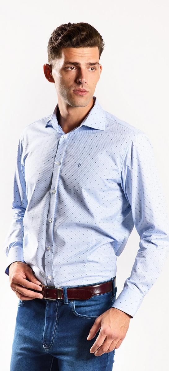 Modrá vzorovaná Classic Fit košeľa