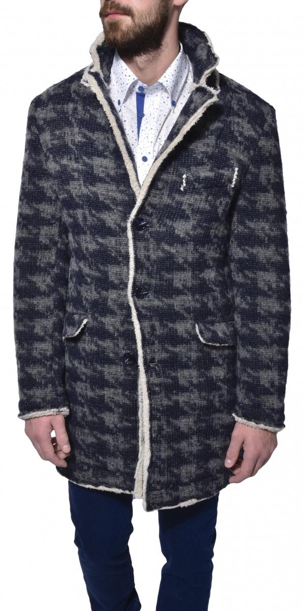 Šedo - modrý zimný kabát