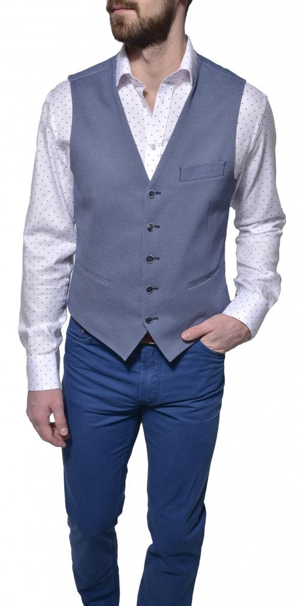Blue cotton patterned vest