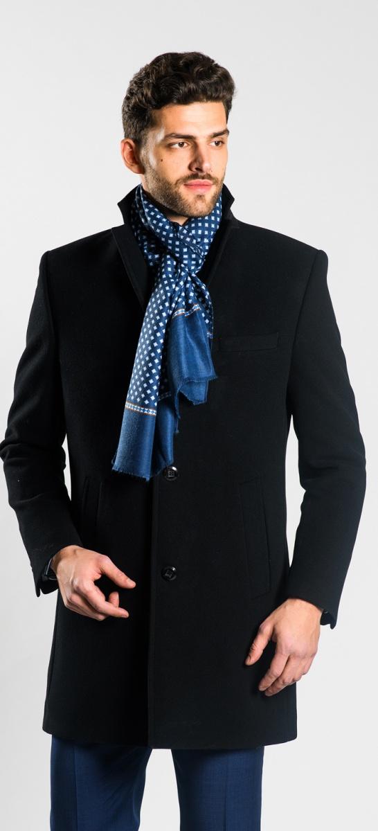 Čierny flaušový kabát
