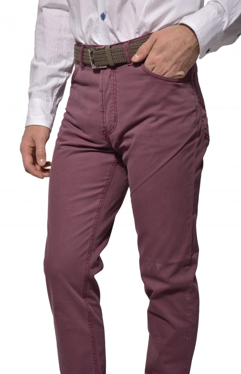 Fialové päťvreckové nohavice