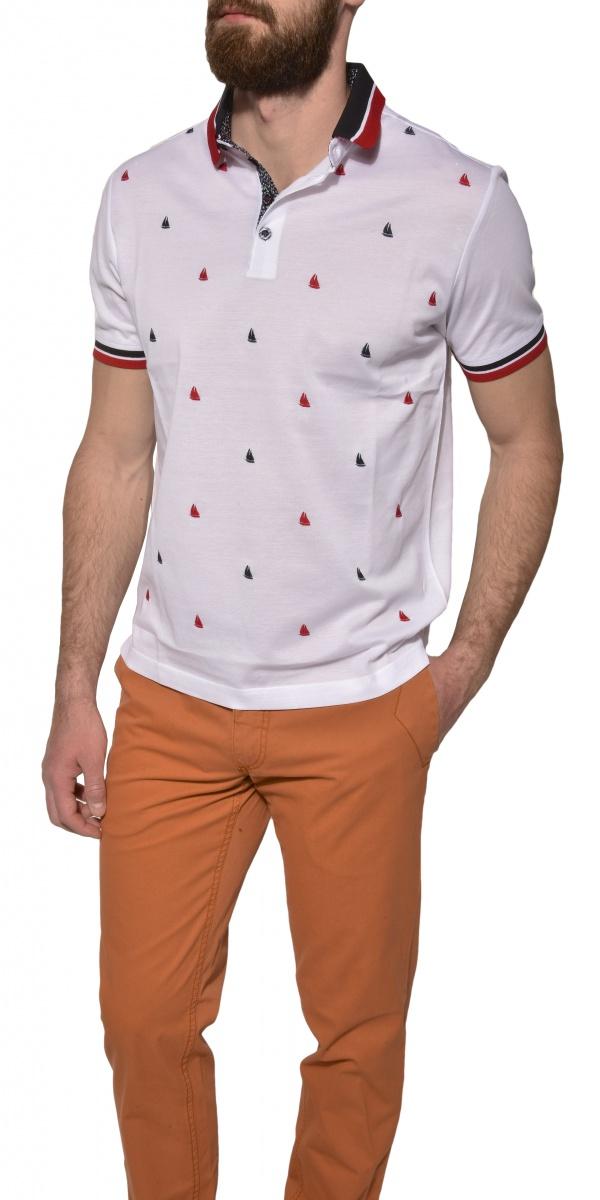 White patterned piqué polo shirt