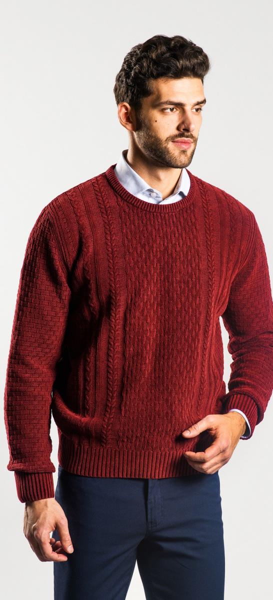 Bordový bavlnený pulóver