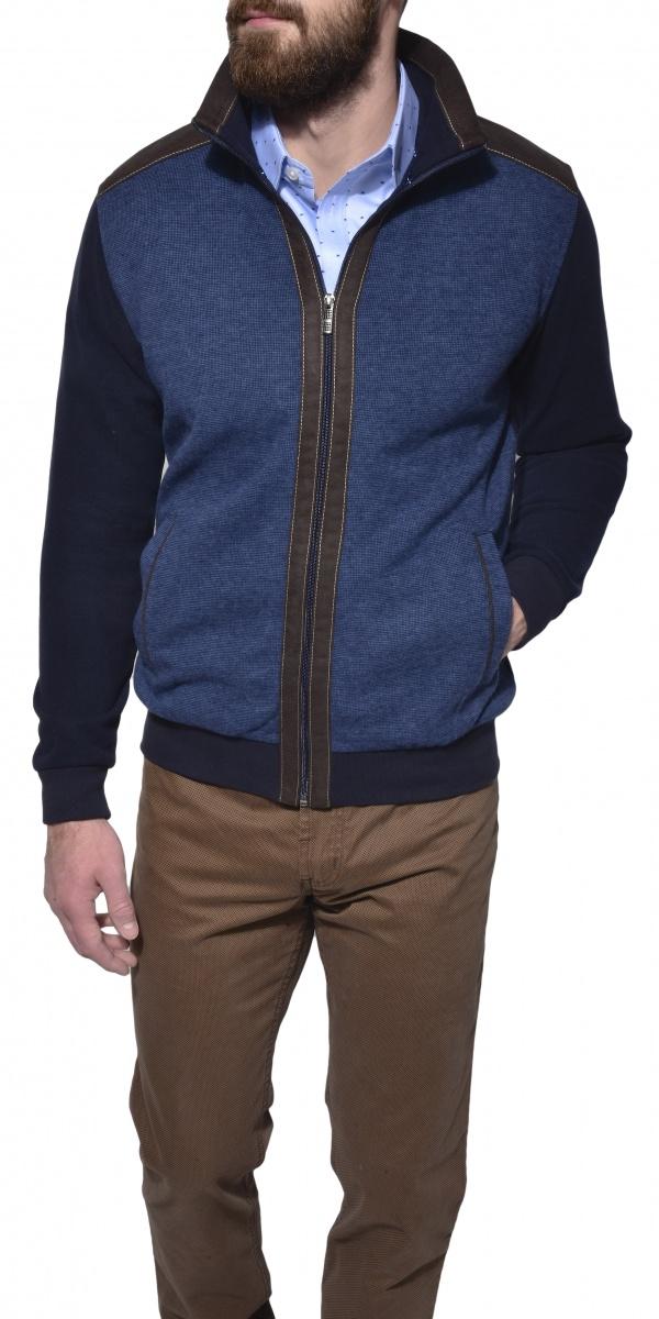 Šedo - modrý bavlnený sveter