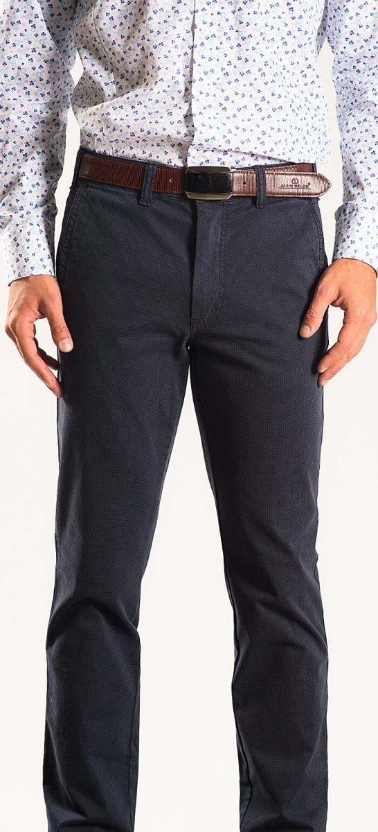 Modré bavlnené chinos nohavice