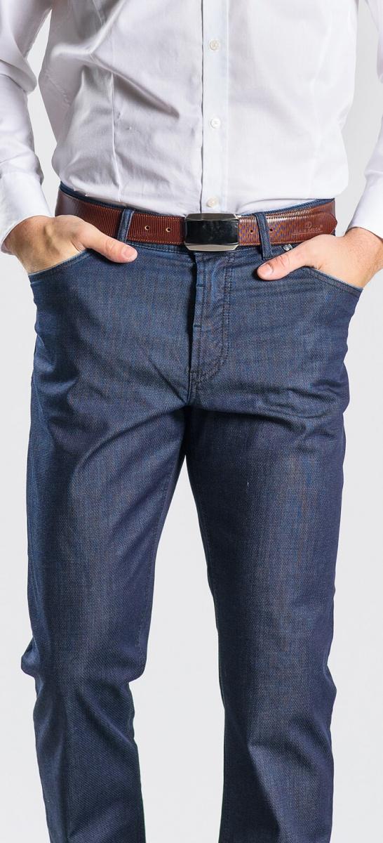 Šedo-modré voľnočasové nohavice
