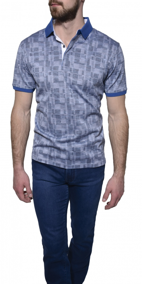 Grey - blue patterned polo shirt