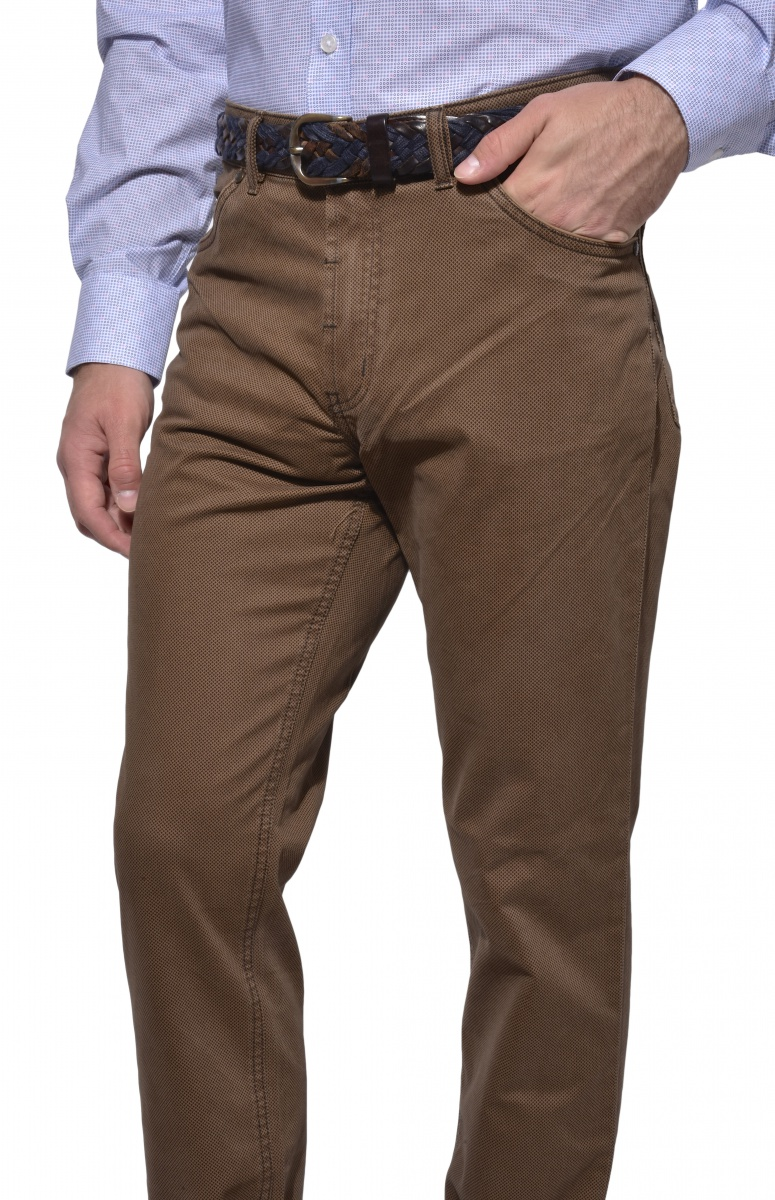Brown five-pocket trousers